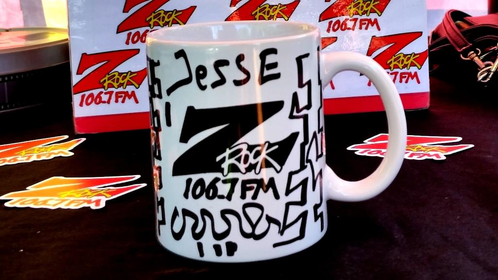 "Custom Z-Rock ""Doodle"" mug, personalized by Tim Buc Moore at Morning Thunder Cafe on June 7th 2018 for Wake the Buc up!"