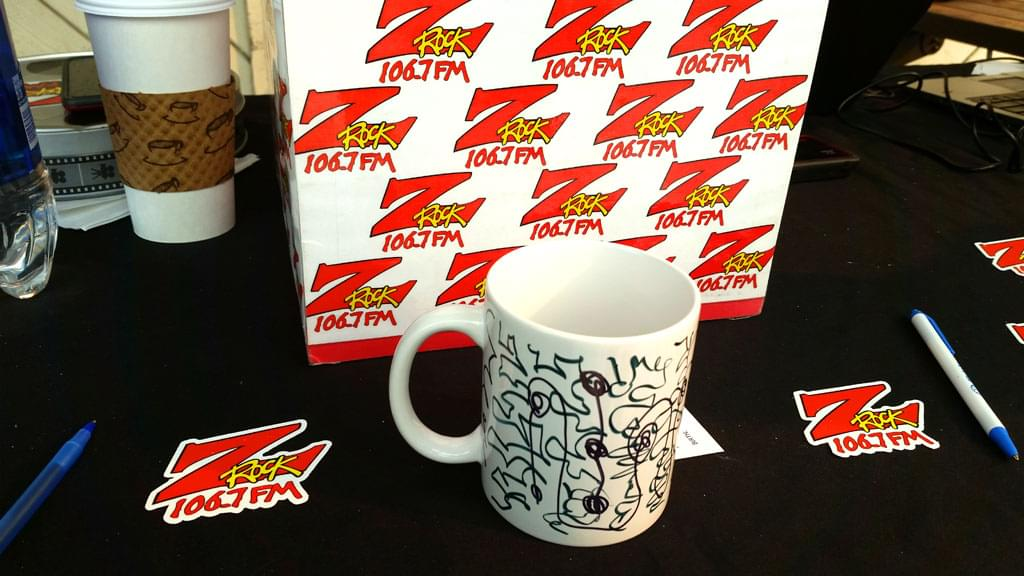 Tim Buc Moore's live morning show tour of Butte County, Wake the Buc Up Doodle Mug at Fresh Twisted Cafe in Chico August 2nd 2018