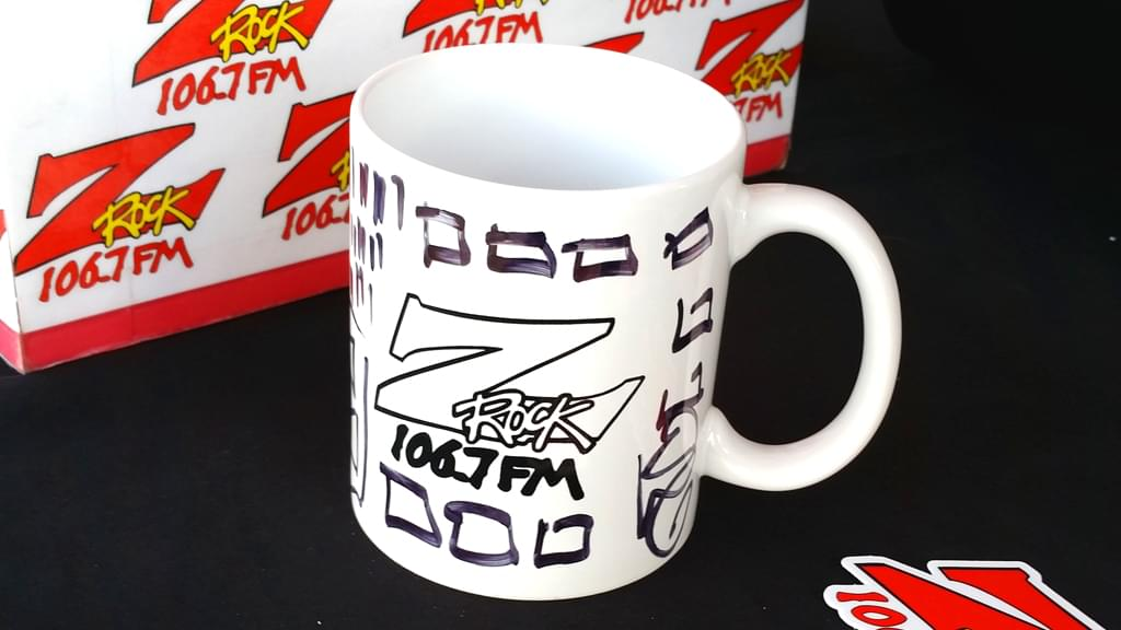 "A Z-Rock ""doodle mug"" customized by Tim Buc Moore at Jeff's California Cattle Company in Redding for Wake the Buc Up on August 23rd 2018"