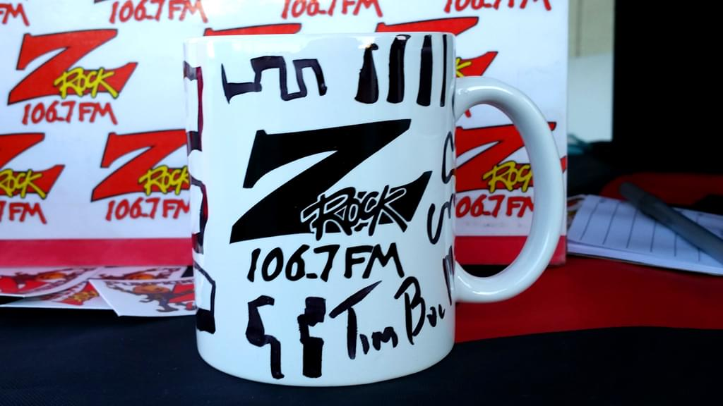 "A Z-Rock ""Doodle"" Mug customized by Tim Buc Moore at Lots 'A Java in Oroville CA for Wake the Buc Up December 6th 2018"