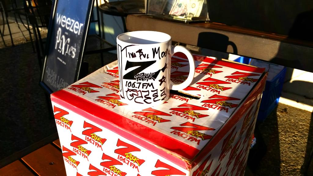 "106.7 Z-Rock customized coffee ""doodle"" mug, signed by Tim Buc Moore for Wake the Buc Up at Fresh Twisted Cafe December 13th 2018 in Chico CA"