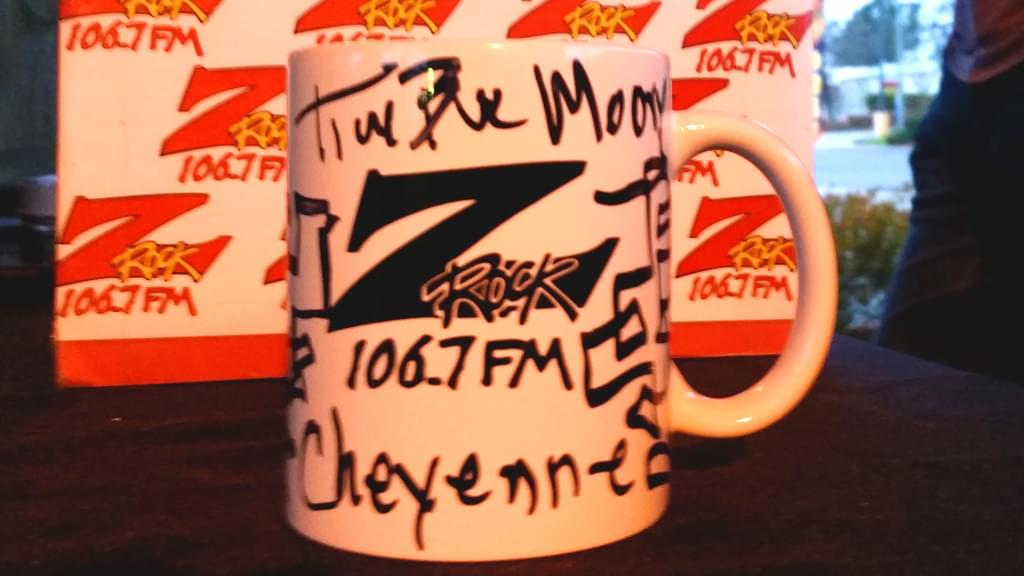 "106.7 Z-Rock customized coffee ""doodle"" mug, signed by Tim Buc Moore for Wake the Buc Up at River's Hot Dogs December 20th 2018 in Oroville CA"