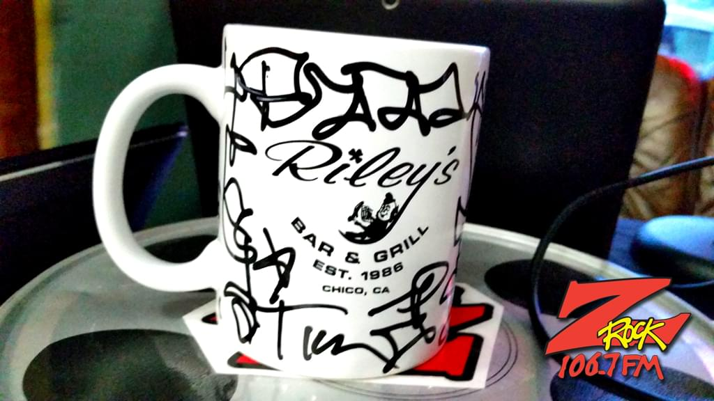 "A Z-Rock ""doodle"" mug customized by Tim Buc Moore at Wake the Buc Up (sponsored by Riley's) in Oroville at Mug Shots Coffee House 2/14/19"
