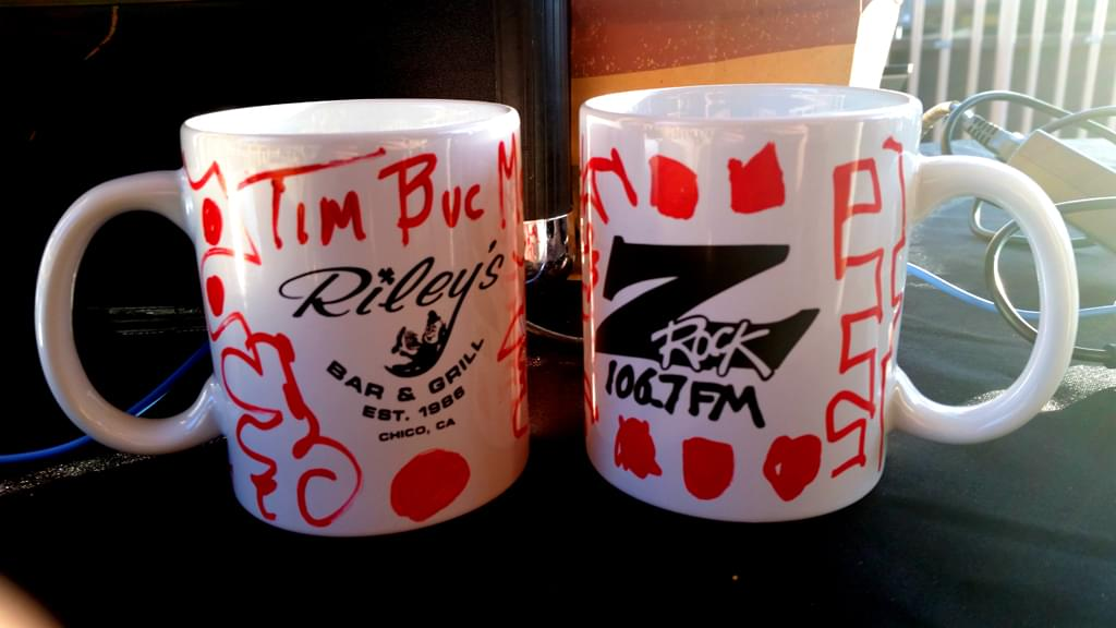 "Z-Rock ""doodle"" mugs customized by Tim Buc Moore during Wake the Buc Up (Brought to you by Riley's) at Great Northern Coffee in Chico CA 2/21/19"