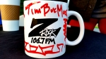 "Customized Z-Rock ""doodle"" mug at Wake the Buc Up in Proberta CA for 106.7 Z-Rock"