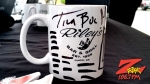 """World famous Z-Rock """"doodle"""" mug signed by Tim Buc Moore for Wake the Buc up at Jenn's Cafe in Oroville sponsored by Riley's"""
