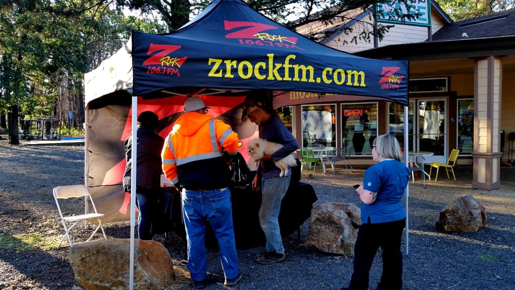 Tim Buc Moore set up bright and early for Wake the Buc Up at Jaki's Hilltop Cafe in Magalia June 27th 2019 broadcasting live on 106.7 Z-Rock