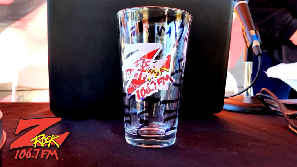 Z-Rock Pumpkinhead 2018 commemorative pint glass given out at Jaki's Hilltop Cafe for Wake the Buc Up June 27th on 106.7 Z-Rock