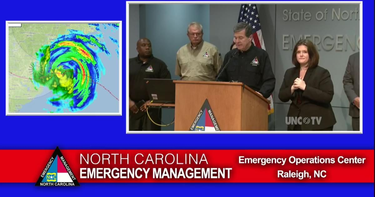 Watch Live: Governor Roy Cooper's 11am Hurricane Florence Update