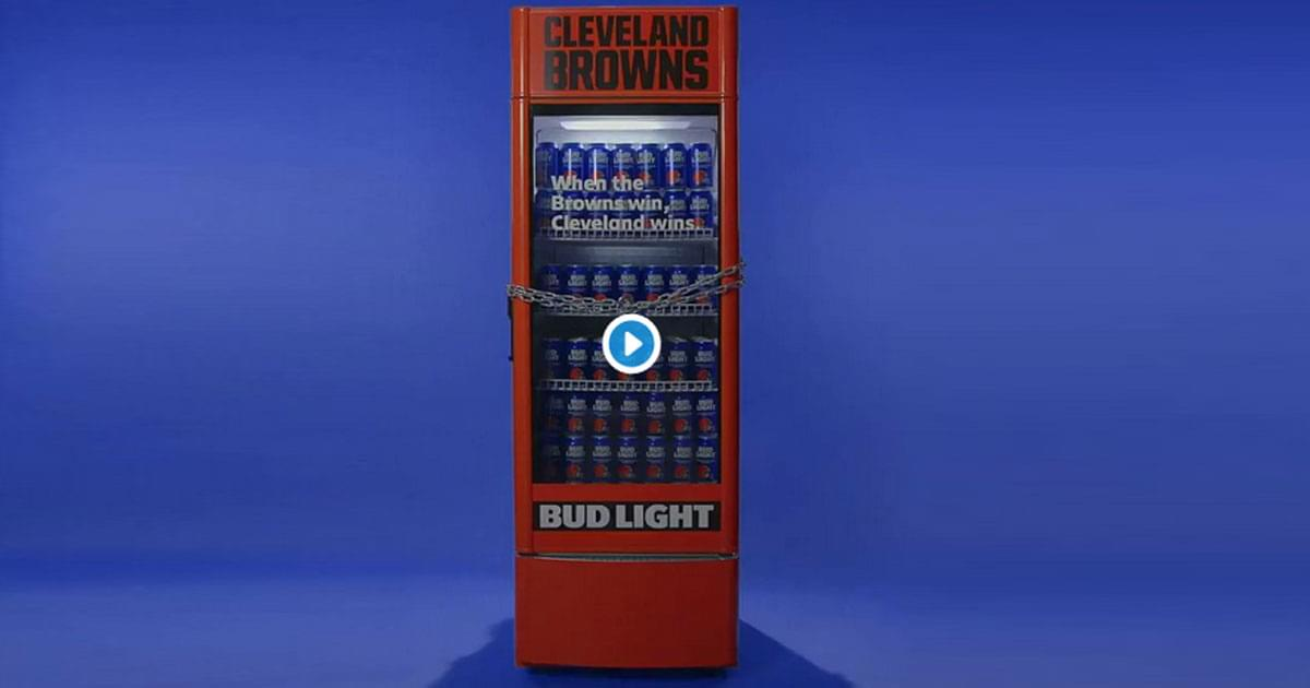 WATCH: Chains drop on Budlight Victory Fridge as Cleveland Browns Win first game in 635 Days