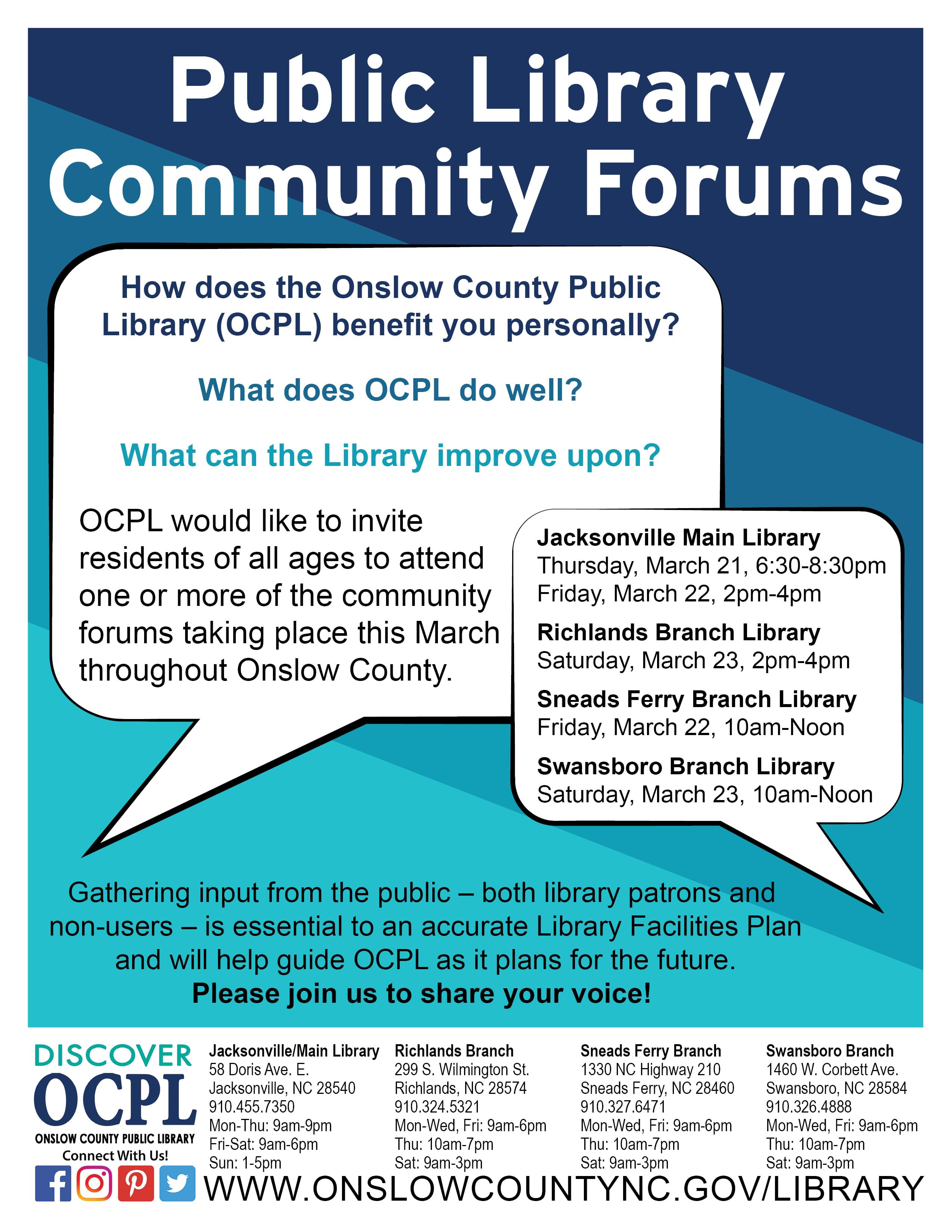 Onslow County Public Library Forums This Week!
