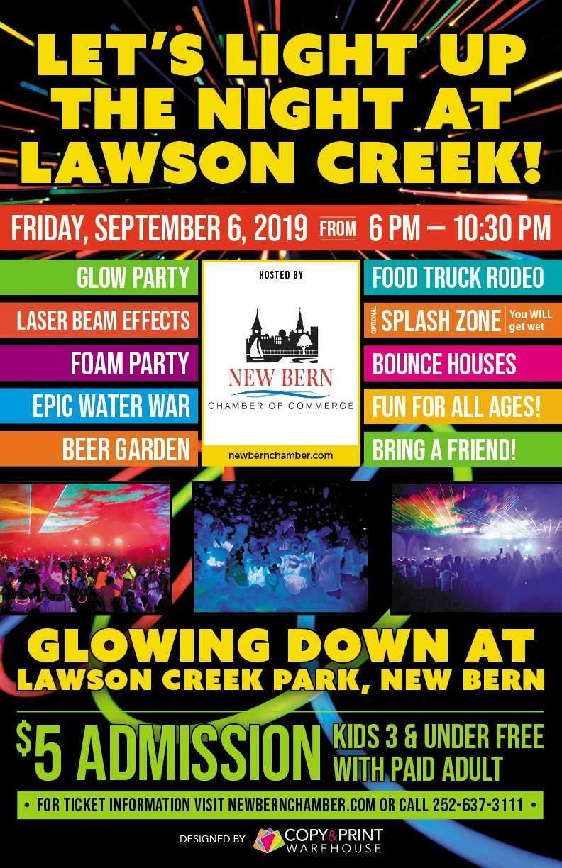 Glow Down Laser Dance Party & Food Truck Rodeo at Lawson Creek Park