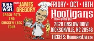 Comedian James Gregory @ Hooligans Pub & Music Hall, Jacksonville