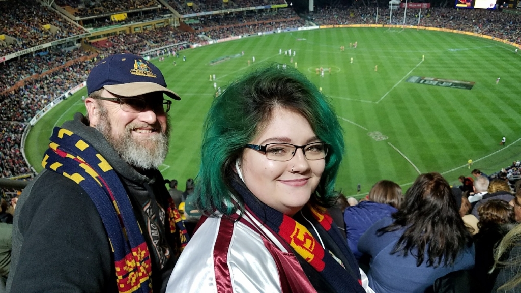 Reido and Sydney attending Aussie Footy Game in Adelaide