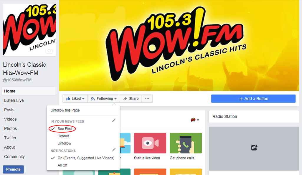 Keep WOW FM in your Facebook News Feed | WBCV-FM
