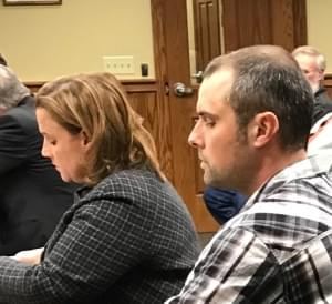 Aaron Buffo (right) and his attorney Julie Ajster.