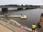 Dixon Crews Prepare for High River Levels By Securing Dock