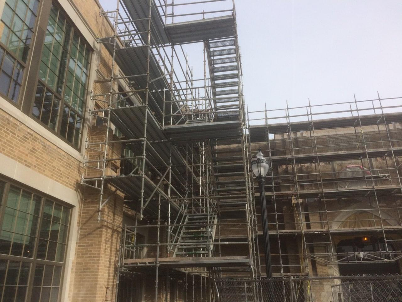 Scaffolding Around Some of the High School Coming Down Soon