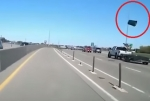 [VIDEO] Flying Trash Can Smashes into Car on Interstate