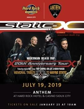 Static-X Members Announce 'Memorial Tour,' Books Sioux City Date!