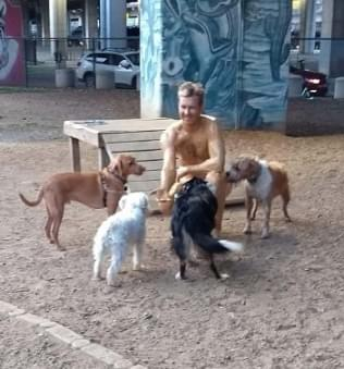 Man in Speedo — Covered in Peanut Butter — Goes to a Dog Park