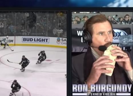 Ron Burgundy Broadcasts NHL Game