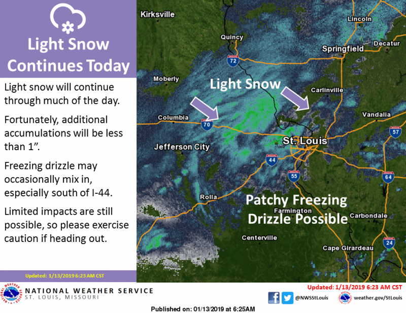 Watch for slick spots as light snow and freezing drizzle expected Sunday