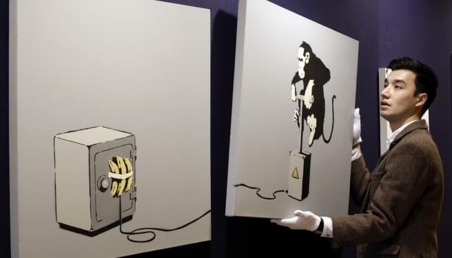 (Video) A Banksy Painting Sells For $1.4 Million . . . Then Self-Destructs |Patrick & 4orty|