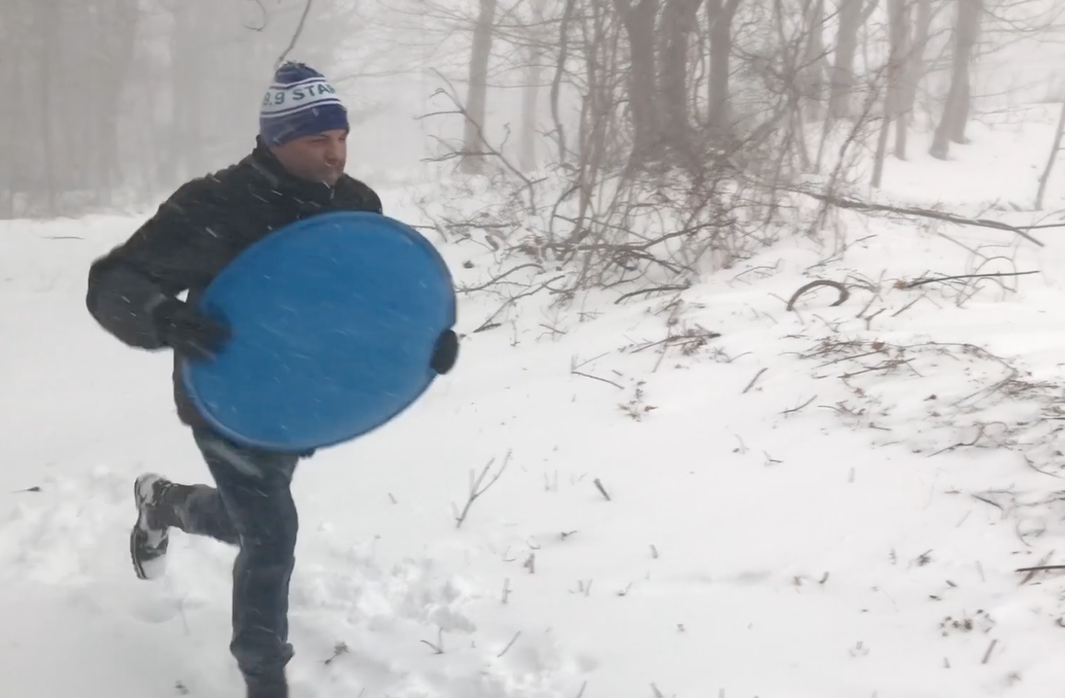 60 Seconds Behind the Scenes- Raven's sledding adventure