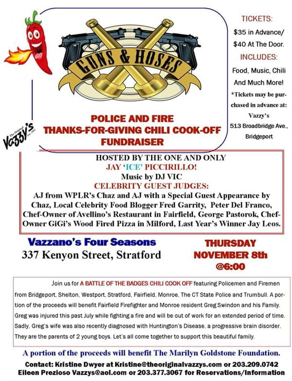 Guns & Hoses: Police and Fire Thanks-For-Giving Chili Cook-Off