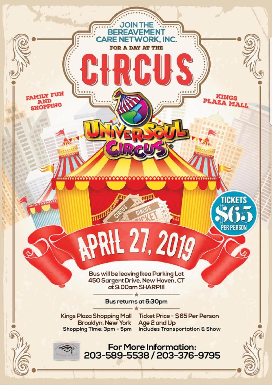 Bereavement Care Network, Inc. Presents UniversalSoul Circus Bus Trip