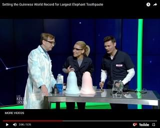 """Live with Kelly and Ryan"" Break World Record With Elephant's Toothpaste Fountain"
