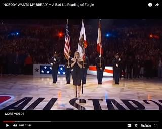 A Bad Lip Reading of Fergie Singing the National Anthem