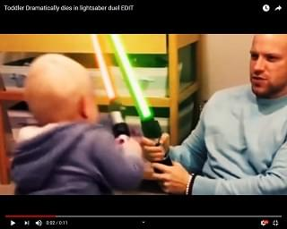 "Viral Video of the Day: Toddler Dramatically ""Dies"" During Light Saber Duel"