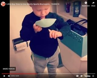 Viral Video: Little Boy Tries to Use Mom's Sports Bra Inserts