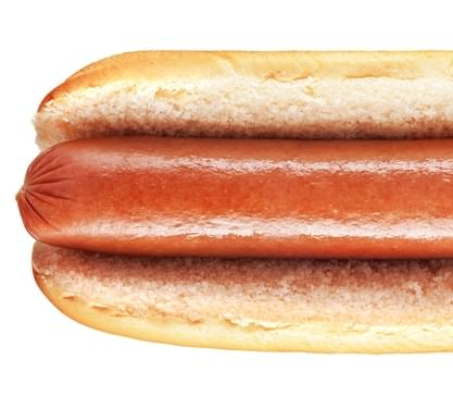 Plain hot dog with big sausage