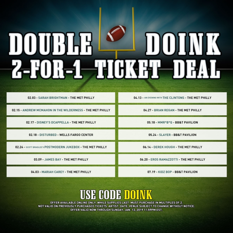 LiveNation Philly's Double Doink 2 For 1 Ticket Sale