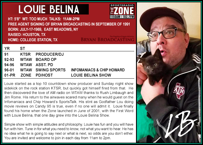 Louie Belina Show Sports Radio 1150 The Zone