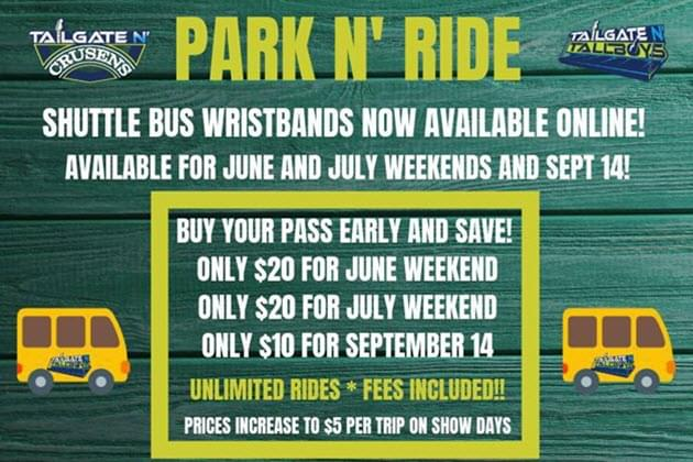 SAVE MONEY at Tailgate N Tallboys with a Park 'N Ride Pass!