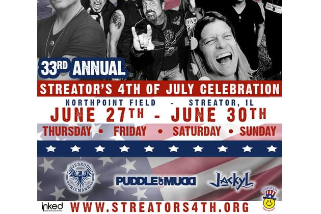 Don't Miss PUDDLE OF MUDD and SALIVA At The 33rd Annual Streator Celebration On June 28th!