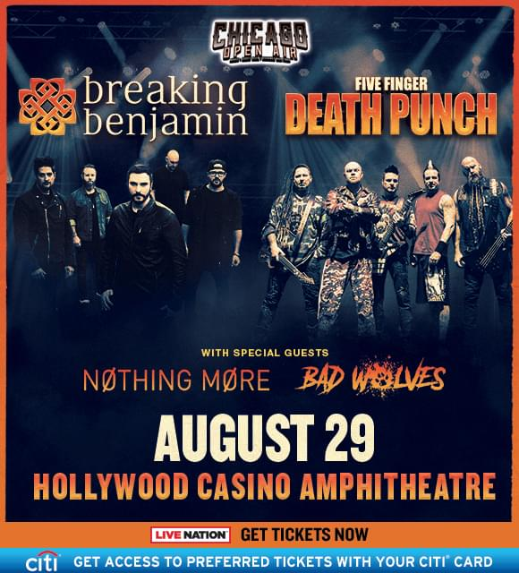 Five Finger Punch Breaking Benjamin Co Headline Amphitheater Tour Pre Sale Info