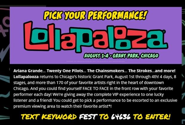 Win LOLLAPALOOZA Face To Face VIP Experience
