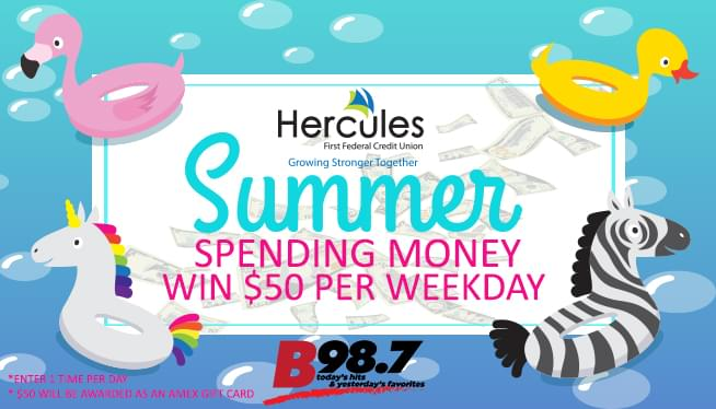 B98.7 & Hercules Credit Union Summer Spending Money Giveaway