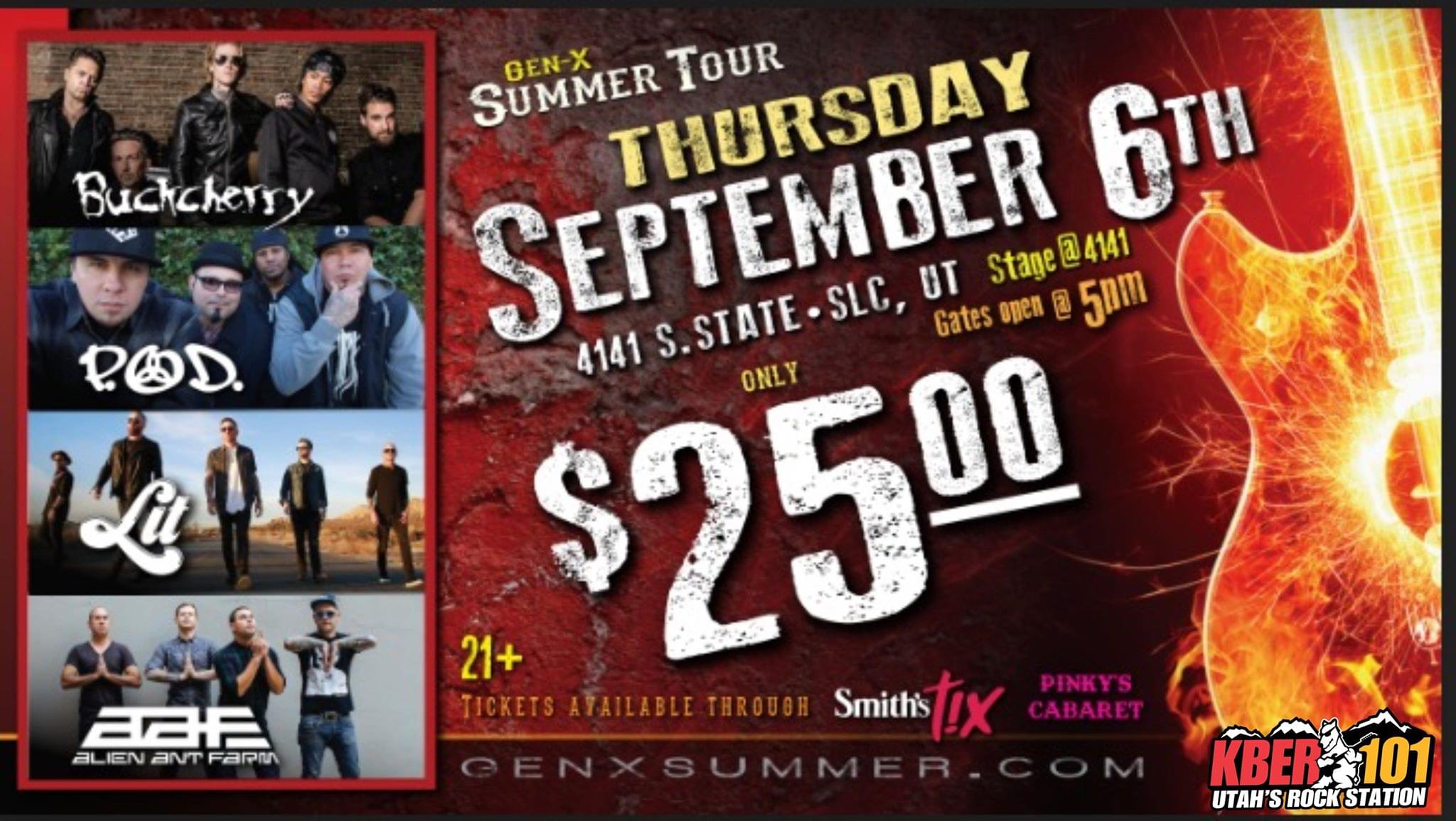 Win A Pair of Tix to Gen X Summer Tour: Featuring Buckcherry, POD, LIT, Alien Ant Farm at the Stage at 4141 Thursday September 6th