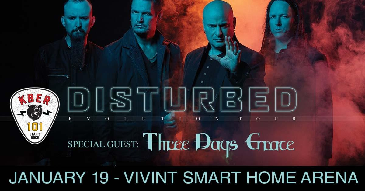 Win 2 Tix to Disturbed with Three Days Grace on Saturday January 19th at Vivint Smart Home Arena