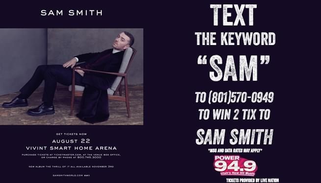 Text-2-Win Tickets to Sam Smith!