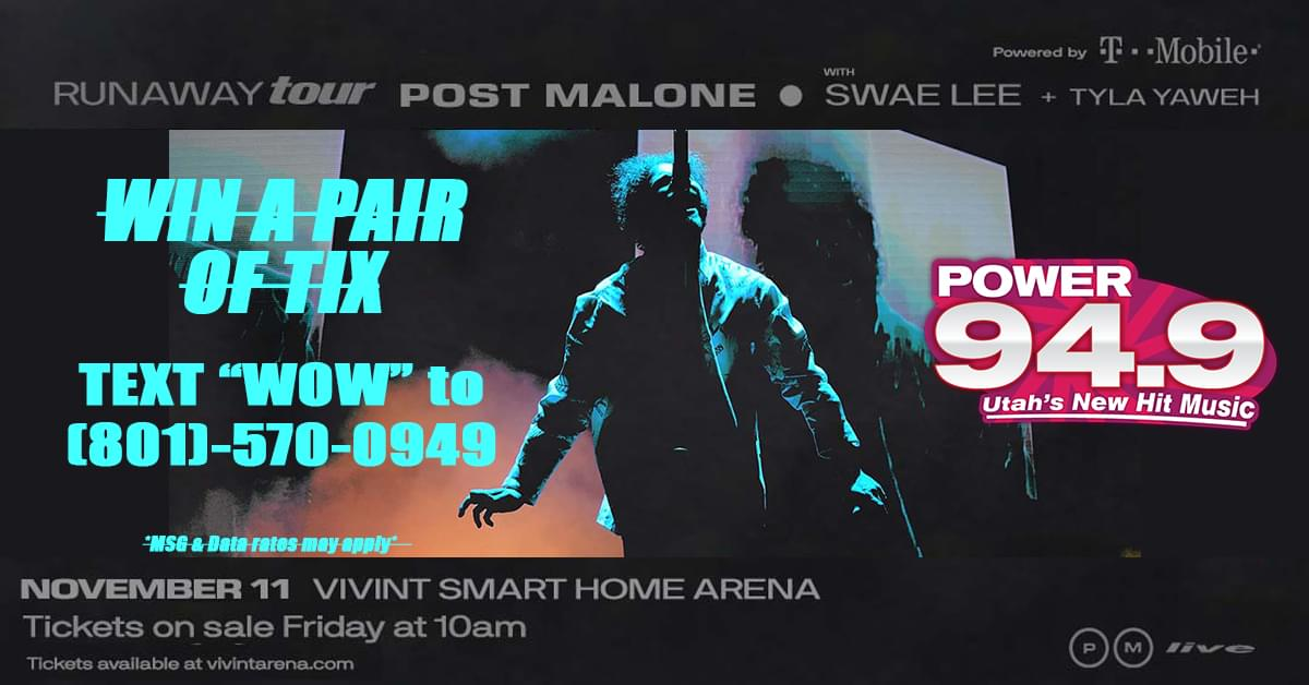 Win 2 Tix to Post Malone at Vivint Smart Home Arena on November 11th From POWER 94.9