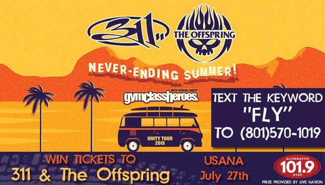 Text-2-Win Tickets to 311 & The Offspring on July 27th at USANA!