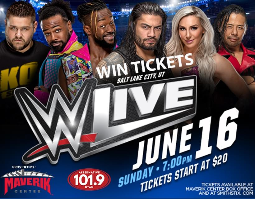 Win Tix to WWE Live on Sunday June 16th at 7P at the Maverik Center