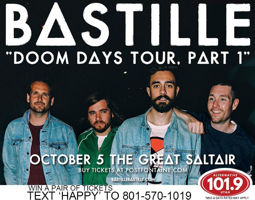 Win 2 Tix to Bastille October 5th at the Great Saltair From ALT 101.9